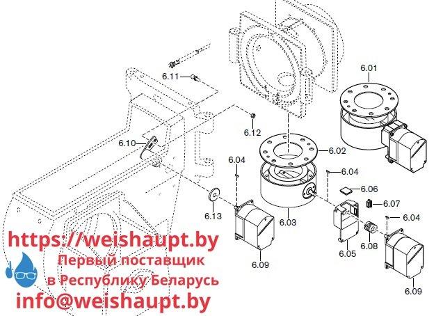 Запасные части к комбинированной горелке Weishaupt RGL70/1-B ZM-NR (W-FM 100/200). Схема 6.