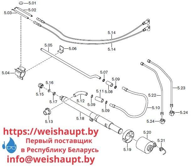 Запасные части к комбинированной горелке Weishaupt RGL70/2-A ZM-1LN (W-FM 100/200). Схема 5.