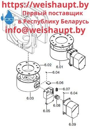 Запасные части к комбинированной горелке Weishaupt RGL70/2-A ZM-1LN (W-FM 100/200). Схема 6.