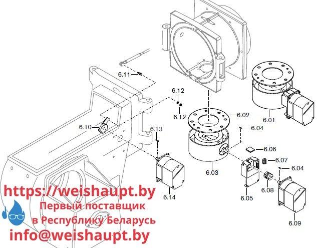 Запасные части к комбинированной горелке Weishaupt RGL70/3-A/ZM-NR (W-FM 100/200). Схема 6.