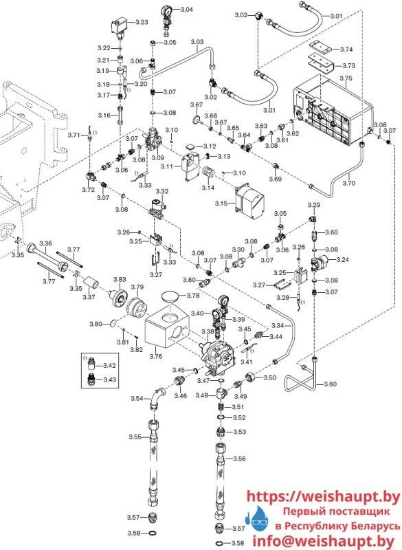 Запасные части к комбинированной горелке Weishaupt RGMS 30/2-A ZM-NR (W-FM 100/200). Схема 3.