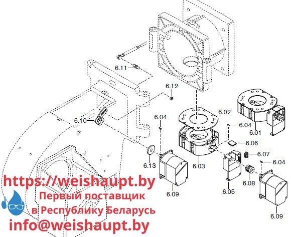 Запасные части к комбинированной горелке Weishaupt RGMS40/2-A ZM-NR (W-FM 100/200). Схема 6.