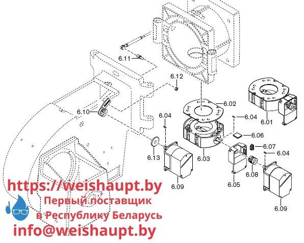 Запасные части к комбинированной горелке Weishaupt RGMS50/2-A ZM-NR (W-FM 100/200). Схема 6.