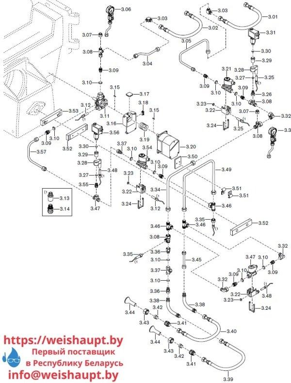 Запасные части к комбинированной горелке Weishaupt RGMS60/2-A ZM-NR (W-FM 100/200). Схема 3.