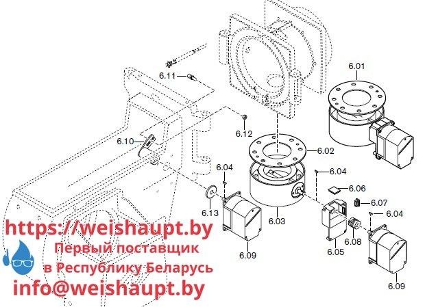 Запасные части к комбинированной горелке Weishaupt RGMS60/2-A ZM-NR (W-FM 100/200). Схема 6.