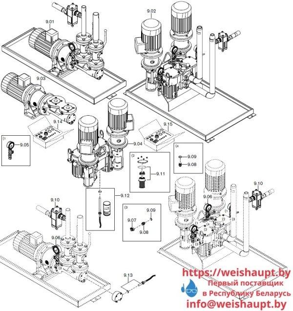 Запасные части к комбинированной горелке Weishaupt RGMS60/2-A ZM-NR (W-FM 100/200). Схема 9.
