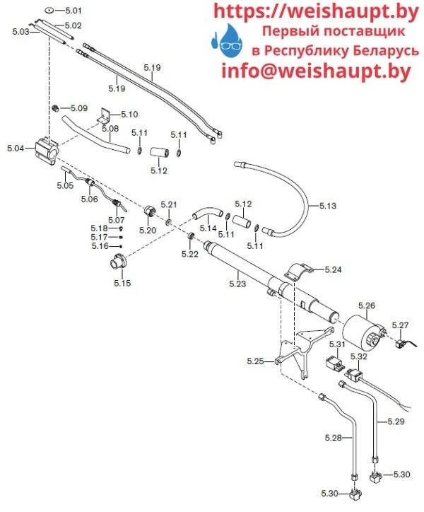 Запасные части к комбинированной горелке Weishaupt RGMS70/1-B ZM-NR (W-FM 100/200). Схема 5.