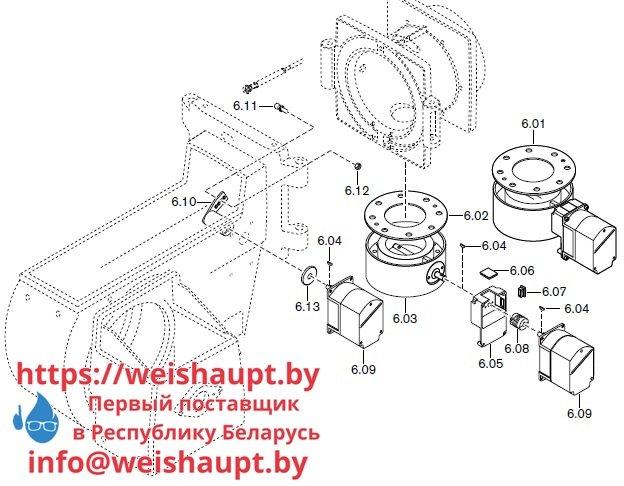 Запасные части к комбинированной горелке Weishaupt RGMS70/1-B ZM-NR (W-FM 100/200). Схема 6.