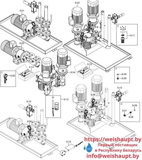 Запасные части к комбинированной горелке Weishaupt RGMS70/1-B ZM-NR (W-FM 100/200). Схема 9.