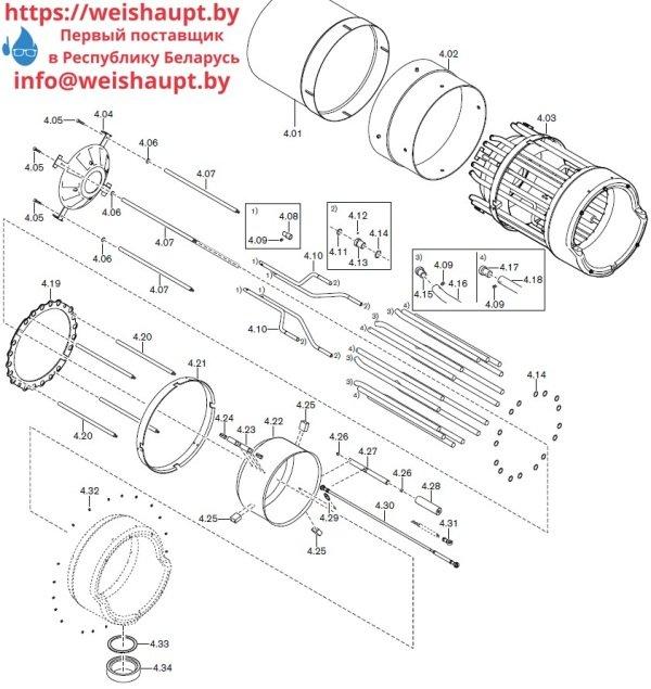 Запасные части к комбинированной горелке Weishaupt RGMS70/3-A ZM-NR (W-FM 200). Схема 4.