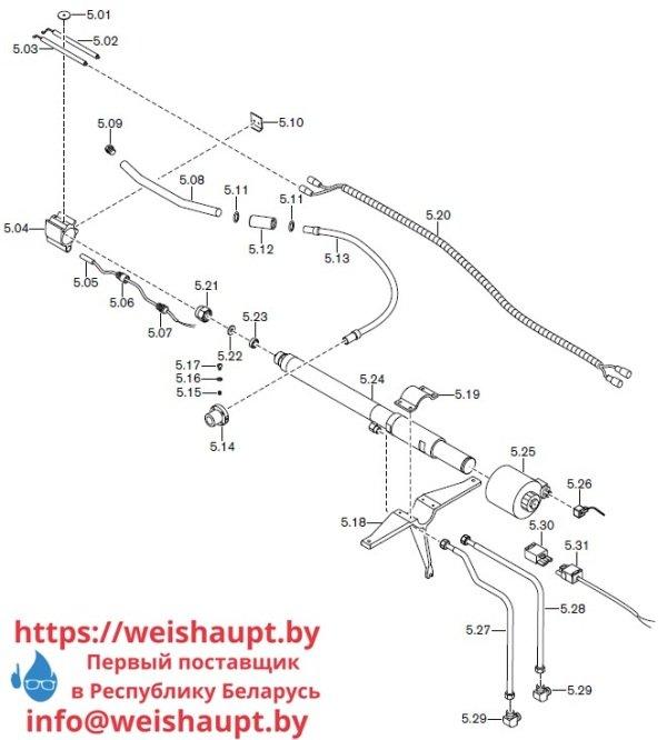 Запасные части к комбинированной горелке Weishaupt RGMS70/3-A ZM-NR (W-FM 200). Схема 5.