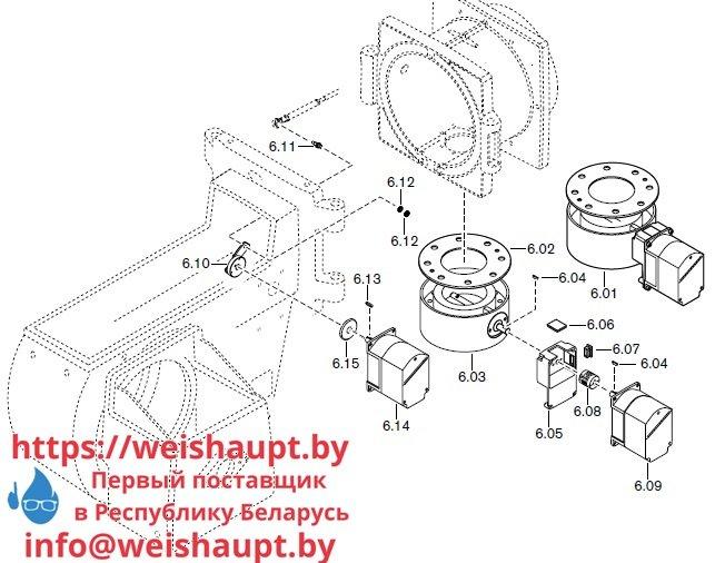 Запасные части к комбинированной горелке Weishaupt RGMS70/3-A ZM-NR (W-FM 200). Схема 6.