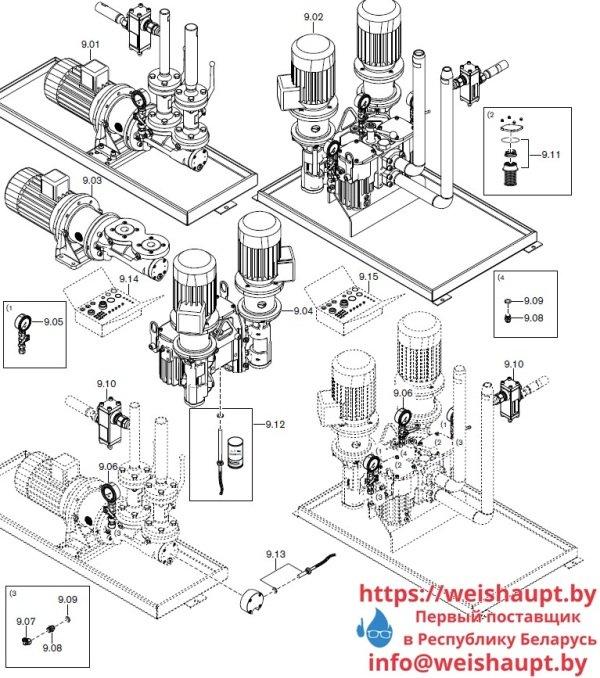 Запасные части к комбинированной горелке Weishaupt . Схема 9.