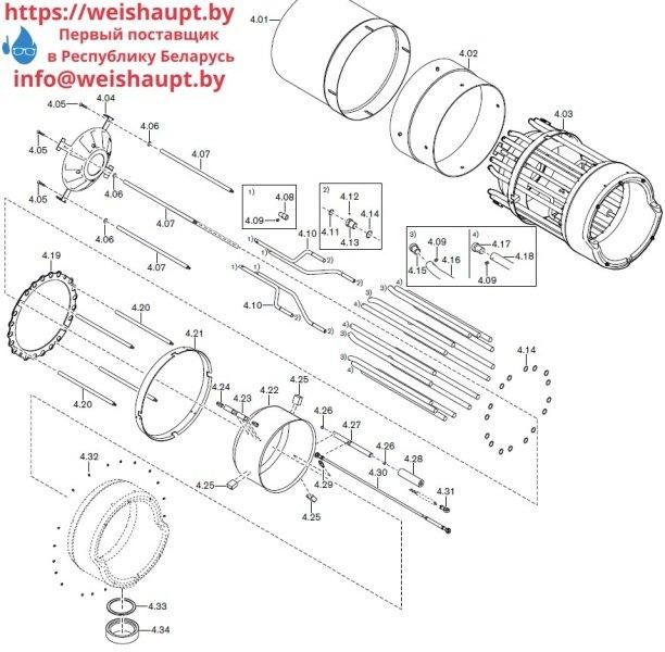 Запасные части к комбинированной горелке Weishaupt RGMS70/4-A ZM-NR (W-FM 200). Схема 4.