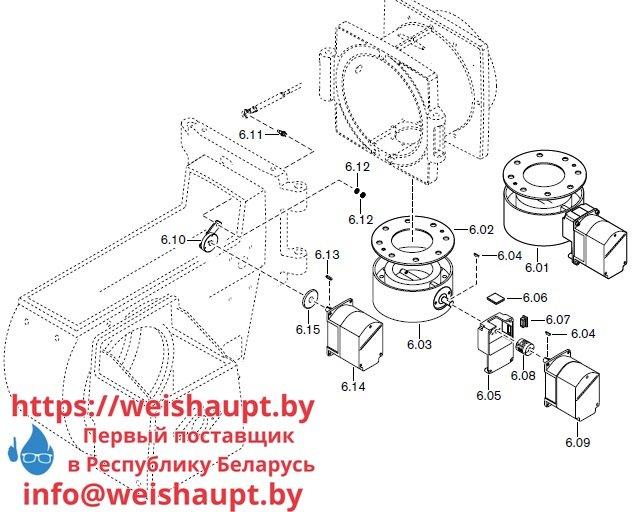 Запасные части к комбинированной горелке Weishaupt RGMS70/4-A ZM-NR (W-FM 200). Схема 6.