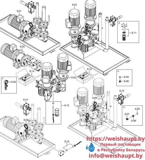 Запасные части к комбинированной горелке Weishaupt RGMS70/4-A ZM-NR (W-FM 200). Схема 9.
