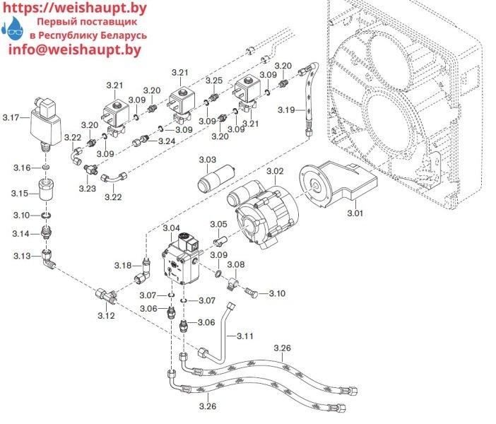 Запасные части к комбинированной горелке Weishaupt WGL30/1-C/ZM. Схема 3.