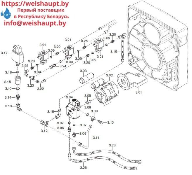 Запасные части к комбинированной горелке Weishaupt WGL40/1-A/ZM. Схема 3.