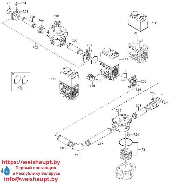 Запасные части к комбинированной горелке Weishaupt WGL40/1-A/ZM. Схема 7.