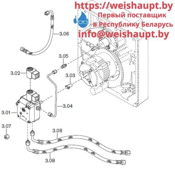 Запчасти к жидкотопливным горелочным устройствам Weishaupt WL10/3-D. Схема 3.