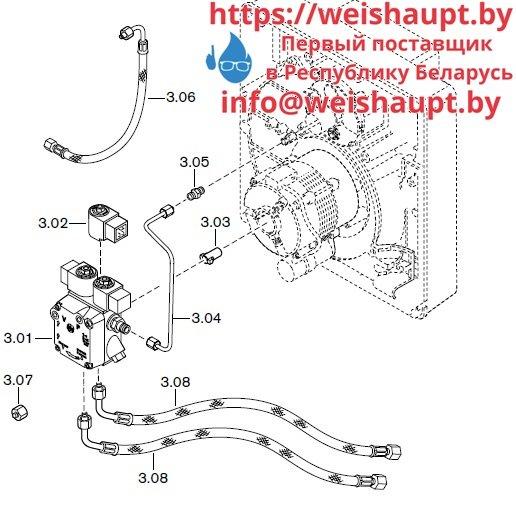 Запчасти к жидкотопливным горелочным устройствам Weishaupt WL10/3-D Z. Схема 3.