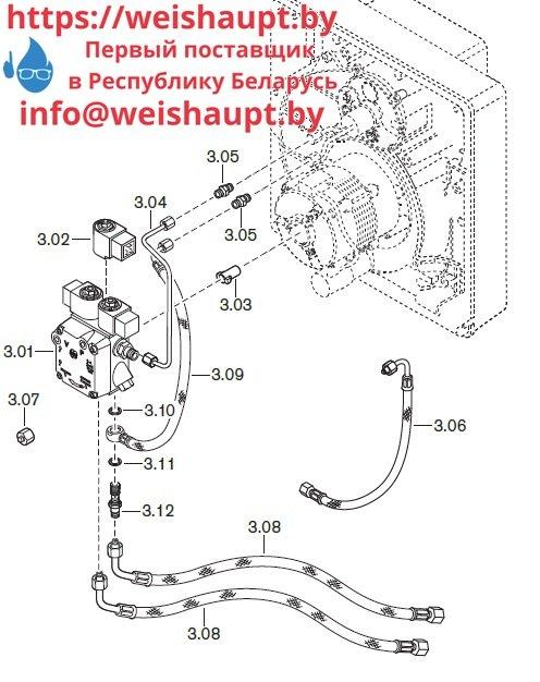 Запчасти к жидкотопливным горелочным устройствам Weishaupt WL20/1-C Z-1LN. Схема 3.