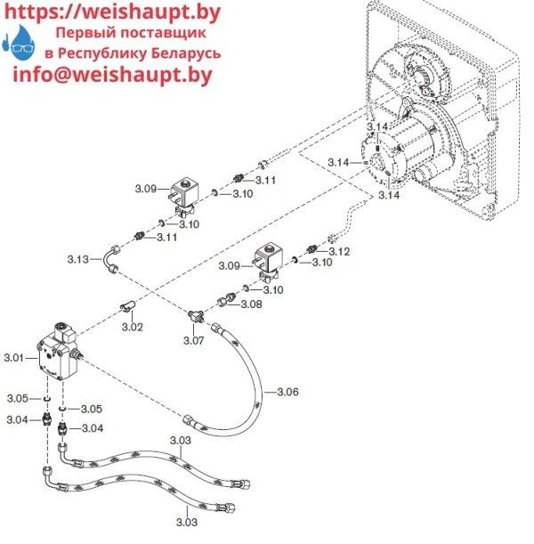 Запчасти к жидкотопливным горелочным устройствам Weishaupt WL40Z-А. Схема 3.